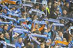 Die Fans der TSG 1899 Hoffenheim beim Spiel in der Fussball Bundesliga, TSG 1899 Hoffenheim - VfL Wolfsburg.<br /> <br /> Foto &copy; PIX-Sportfotos *** Foto ist honorarpflichtig! *** Auf Anfrage in hoeherer Qualitaet/Aufloesung. Belegexemplar erbeten. Veroeffentlichung ausschliesslich fuer journalistisch-publizistische Zwecke. For editorial use only.