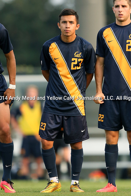 29 August 2014: Cal's Jose Carrera-Garcia (CAN). The University of North Carolina Tar Heels hosted the University of California Bears at Fetzer Field in Chapel Hill, NC in a 2014 NCAA Division I Men's Soccer match. North Carolina won the game 3-1.