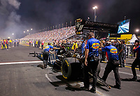 Aug 30, 2019; Clermont, IN, USA; Crew members for NHRA top fuel driver Leah Pritchett during qualifying for the US Nationals at Lucas Oil Raceway. Mandatory Credit: Mark J. Rebilas-USA TODAY Sports