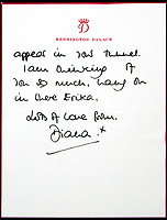 BNPS.co.uk (01202 558833)<br /> Pic: JuliensAuctions/BNPS<br /> <br /> A remarkable letter Princess Diana wrote to a distressed woman telling her she recognised a lady with low self-esteem is coming up for sale.<br /> <br /> Diana appeared to draw on her own experience of the trauma of her marriage breakdown with Prince Charles when she penned the Agony Aunt-type letter.<br /> <br /> Clearly writing in response to a letter from a woman whose own marriage had failed, the late princess wrote: &quot;I know that it takes great courage to write as you did.&quot;<br /> <br /> Diana wrote the letter to 'Erika' just days after her Panorama interview with Martin Bashir was aired in which she candidly discussed her failed marriage.