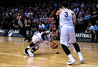Korea's Heejong Yang passes to Korea's Junghyun Lee during the FIBA World Cup qualifier between the New Zealand Tall Blacks and South Korea at TSB Bank Arena in Wellington, New Zealand on Thursday, 23 November 2017. Photo: Dave Lintott / lintottphoto.co.nz