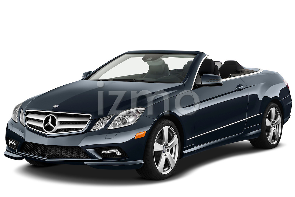 Front three quarter view of a 2011 Mercedes E 550 Convertible.