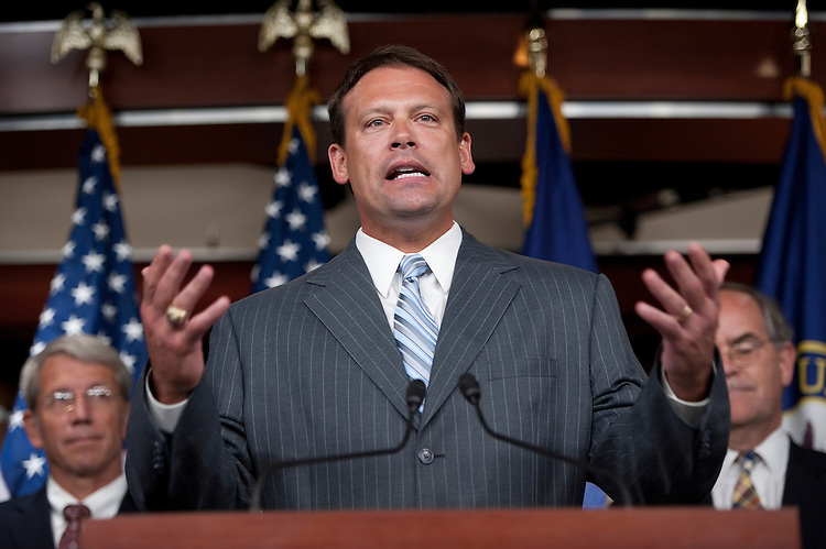 UNITED STATES - SEPTEMBER 14: Rep. Heath Shuler, D-N.C.,  speaks during the Blue Dog Coalition news conference on the debt and the Joint Committee on Deficit Reduction on Wednesday, Sept. 14, 2011. (Photo By Bill Clark/Roll Call)