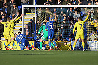 An own goal from Luke O'Neil of AFC Wimbledon in the first half makes it 0-1 during AFC Wimbledon vs Fleetwood Town, Sky Bet EFL League 1 Football at the Cherry Red Records Stadium on 8th February 2020