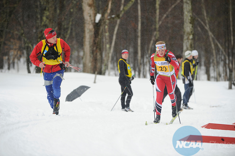 11 MAR 2011: Skiers compete in the women's 15km Classical Cross Country race during the 2011 NCAA Men and Women's Division I Skiing Championship held Stowe Mountain Resort and Trapp Family Lodge in Stowe, VT. ©Brett Wilhelm/NCAA Photos