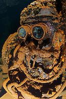 RJ41952-D. &quot;R2D2&quot; compressor machinery inside the Fujikawa Maru shipwreck, Truk (Chuuk) Lagoon, Micronesia, Pacific Ocean.<br /> Photo Copyright &copy; Brandon Cole. All rights reserved worldwide.  www.brandoncole.com