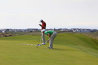 Gavin Moynihan (IRL) on the 14th green during the Afternoon Singles between Ireland and Wales at the Home Internationals at Royal Portrush Golf Club on Thursday 13th August 2015.<br /> Picture:  Thos Caffrey / www.golffile.ie