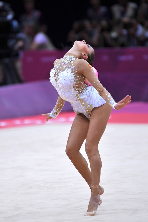 August 11, 2012; London, Great Britain;  EVGENIYA KANAEVA of Russia performs with ball during All-Around final at London 2012 Olympics.
