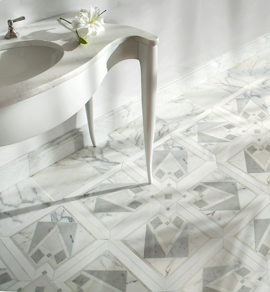 Villandry, a waterjet and hand-cut mosaic, shown in polished, Thassos, Carrara, Calacatta Gold, and Afyon White, is part of the Jardins Français collection by Caroline Beaupere for New Ravenna.