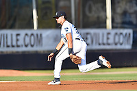 Asheville Tourists third baseman Johnny Cresto (17) reacts to the ball during a game against the Lakewood BlueClaws at McCormick Field on August 5, 2019 in Asheville, North Carolina. The BlueClaws defeated the Tourists 4-2. (Tony Farlow/Four Seam Images)