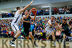 Dusan Bogdanovic Garveys Tralee Warriors in action against Oisin Kerlin GS Swords Thunder at the Tralee Sports Complex on Saturday night.