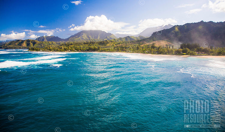 Aerial view of Haena Beach on the north shore of Kauai