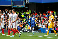 GOAL - Tammy Abraham of Chelsea makes it 1-0 during the Premier League match between Chelsea and Sheff United at Stamford Bridge, London, England on 31 August 2019. Photo by Carlton Myrie / PRiME Media Images.
