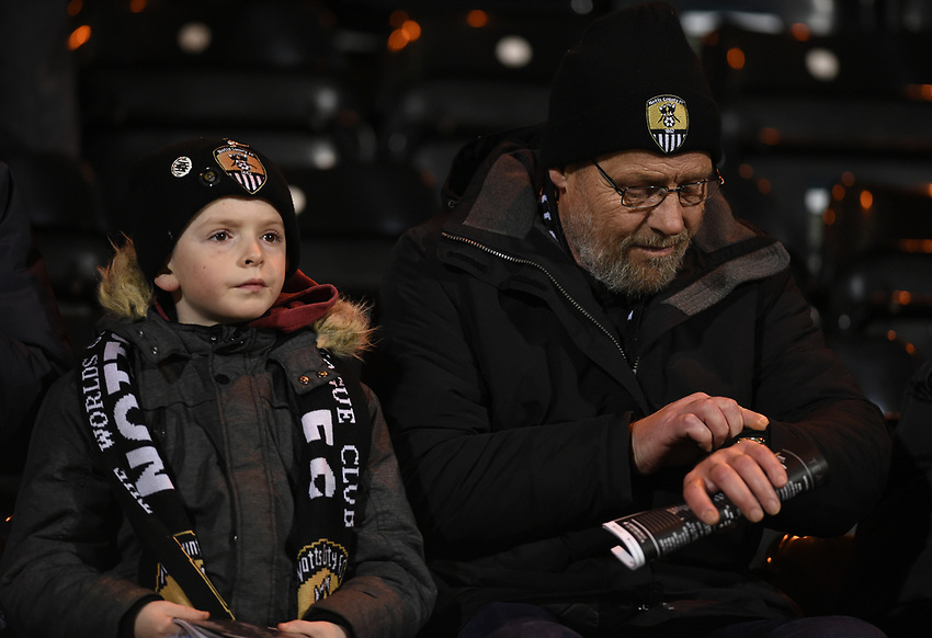Notts County supporters<br /> <br /> Photographer Jon Hobley/CameraSport<br /> <br /> The EFL Sky Bet League Two - Notts County v Crawley Town - Tuesday 23rd January 2018 - Meadow Lane - Nottingham<br /> <br /> World Copyright &copy; 2018 CameraSport. All rights reserved. 43 Linden Ave. Countesthorpe. Leicester. England. LE8 5PG - Tel: +44 (0) 116 277 4147 - admin@camerasport.com - www.camerasport.com