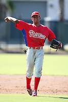 Philadelphia Phillies minor league shortstop Francisco Silva vs. the Toronto Blue Jays in an Instructional League game at the Carpenter Complex in Clearwater, Florida;  October 9, 2010.  Photo By Mike Janes/Four Seam Images