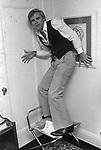 Comedian, Steve Martin, clowning after an interview at a New York City hotel. Photo by Jim Peppler. Copyright/ Jim Peppler.