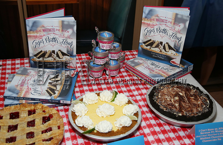 """Waitress"" celebrate 'Sugar, Butter, Flour: The Waitress Pie Cookbook at The Brooks Atkinson Theatre on June 27, 2017 in New York City."