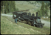 RGS #461 southbound with engineer and fireman examining derailed tender just past Bridge 58-A, the Meadow Creek Trestle.<br /> RGS  Meadow Creek, CO  Taken by Kindig, Richard H. - 6/5/1951