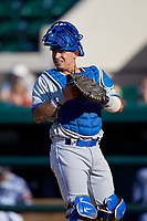 Dunedin Blue Jays catcher Christopher Bec (9) during a Florida State League game against the Lakeland Flying Tigers on May 18, 2019 at Publix Field at Joker Marchant Stadium in Lakeland, Florida.  Dunedin defeated Lakeland 3-2 in eleven innings.  (Mike Janes/Four Seam Images)