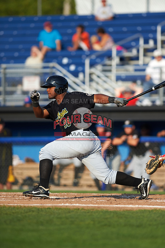 West Virginia Black Bears outfielder Alexis Bastardo (38) at bat during a game against the Batavia Muckdogs on August 30, 2015 at Dwyer Stadium in Batavia, New York.  Batavia defeated West Virginia 8-5.  (Mike Janes/Four Seam Images)