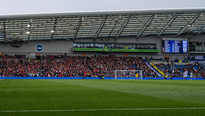 Bournemouth fans celebrating a 5-0 victory over Brighton<br /> <br /> Photographer David Horton/CameraSport<br /> <br /> The Premier League - Brighton and Hove Albion v Bournemouth - Saturday 13th April 2019 - The Amex Stadium - Brighton<br /> <br /> World Copyright © 2019 CameraSport. All rights reserved. 43 Linden Ave. Countesthorpe. Leicester. England. LE8 5PG - Tel: +44 (0) 116 277 4147 - admin@camerasport.com - www.camerasport.com