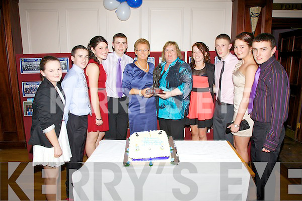 The Renard Set Dancers who won the County Scor final pictured here at the dinner dance in The Ring of Kerry Hotel marking the clubs 75th Anniversary, pictured l-r; Casey O'Donoghue, Paudie Casey, Deararca O'Donoghue, Cathal O'Donovan, Mary O'Donoghue(Scor Officer), Siobhan Casey(Scor Officer), Niamh Casey, Brian Sugrue, Rebecca Galvin & Cillian O'Donovan.