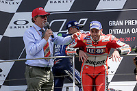 Ducati's Team rider Italian Andrea Dovizioso, winner  the Moto GP Grand Prix at the Mugello race track on June 4, 2017 celebrates on the podium. <br /> MotoGP Italy Grand Prix 2017 at Autodromo del Mugello, Florence, Italy on 4th June 2017. <br /> Photo by Danilo D'Auria.<br /> <br /> Danilo D'Auria/UK Sports Pics Ltd/Alterphotos /NortePhoto.com