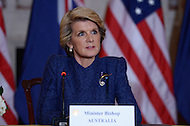 November 20, 2013  (Washington, DC)  Australian Foreign Minister Julie Bishop at the State Department during a joint press availability with Secretary of State John Kerry and Secretary of Defense Chuck Hagel.  (Photo by Don Baxter/Media Images International)