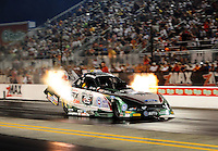 Sept. 17, 2010; Concord, NC, USA; NHRA funny car driver John Force launches off the starting line during qualifying for the O'Reilly Auto Parts NHRA Nationals at zMax Dragway. Mandatory Credit: Mark J. Rebilas/