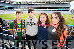 Daire Keane, Daire O'Connor, Therese Keane and Claire Kenny, all Ballymac Kerry  fans at the All Ireland Senior Quarter Final at Croke Park on Sunday.