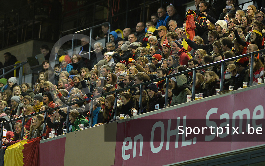 20151130 - LEUVEN ,  BELGIUM : Belgian Fans pictured during the female soccer game between the Belgian Red Flames and Serbia , the third game in the qualification for the European Championship in The Netherlands 2017  , Monday 30 November 2015 at Stadion Den Dreef  in Leuven , Belgium. PHOTO DAVID CATRY