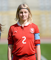 20140407 - BRUSSELS , BELGIUM : Czech Lucie Bazoutova (2) pictured during the female soccer match between CZECH REPUBLIC U19 and BELGIUM U19 , in the second game of the Elite round in group 4 in the UEFA European Women's Under 19 competition 2014 in the Koning Boudewijn Stadion , Monday 7 April 2014 in Brussels . PHOTO DAVID CATRY
