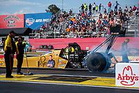 May 3, 2019; Commerce, GA, USA; NHRA top fuel driver Leah Pritchett during qualifying for the Southern Nationals at Atlanta Dragway. Mandatory Credit: Mark J. Rebilas-USA TODAY Sports