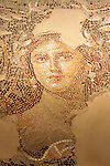 "Israel, the Lower Galilee. The mosaic floor at the third century Roman villa in Zippori, the portrait of the ""Mona Lisa of the Galilee"""