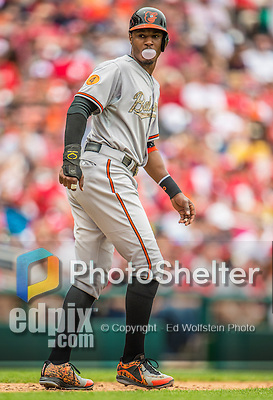 27 May 2013: Baltimore Orioles outfielder Adam Jones in action against the Washington Nationals at Nationals Park in Washington, DC. The Orioles defeated the Nationals 6-2, taking the Memorial Day, first game of their interleague series. Mandatory Credit: Ed Wolfstein Photo *** RAW (NEF) Image File Available ***