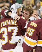 Justin Fontaine (Duluth - 37), Kyle Schmidt (Duluth - 7) - The University of Minnesota-Duluth Bulldogs celebrated their 2011 D1 National Championship win on Saturday, April 9, 2011, at the Xcel Energy Center in St. Paul, Minnesota.