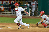 Zach Gibbons (37) of the Orem Owlz follows through on his swing against the Billings Mustangs in Game 2 of the Pioneer League Championship at Home of the Owlz on September 16, 2016 in Orem, Utah. Orem defeated Billings 3-2 and are the 2016 Pioneer League Champions.(Stephen Smith/Four Seam Images)