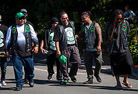 Members of the Full-Blooded Islanders gang, including Mose Siala (centre) and Sina Pati (2nd right), leave the Wellington Islamic Centre. NZ marks one week since Christchurch terror attacks. Wellington Islamic Centre in Wellington, New Zealand on Friday, 22 March 2019. Photo: Dave Lintott / lintottphoto.co.nz