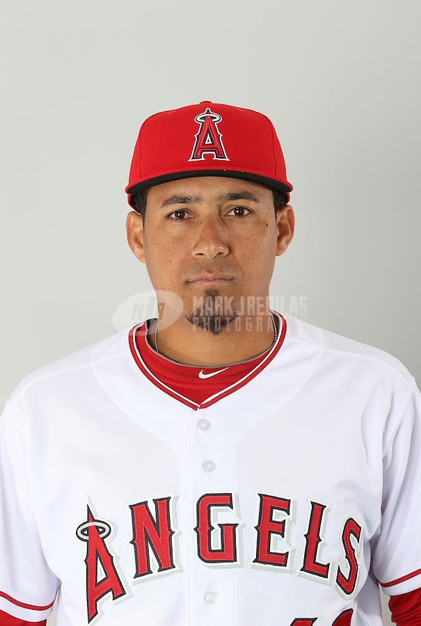 Feb. 21, 2013; Tempe, AZ, USA: Los Angeles Angels pitcher Ernesto Frieri poses for a portrait during photo day at Tempe Diablo Stadium. Mandatory Credit: Mark J. Rebilas-