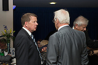 Journalist and presenter, Bill Turnbull (left), chats during the Wycombe Wanderers End of Season 2016 Awards Dinner at Adams Park, High Wycombe, England on 1 May 2016. Photo by David Horn