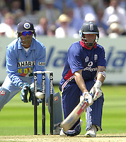 .13/07/2002.Sport - Cricket -NatWest Series Final- Lords.England vs India.Marcus Trescothick and Nasser Hussian.
