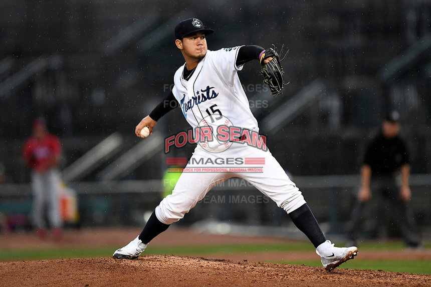 Alejandro Requena (15) of the Asheville Tourists with the South team pitches during the South Atlantic League All-Star Game on Tuesday, June 20, 2017, at Spirit Communications Park in Columbia, South Carolina. The game was suspended due to rain after seven innings tied, 3-3. (Tom Priddy/Four Seam Images)