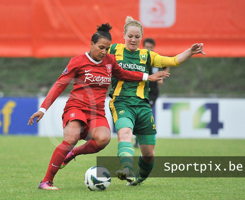 KNVB Beker Finale : ADO Den Haag - FC Twente : duel tussen Shanice van de Sanden (links) en Lucienne Reichardt<br /> foto DAVID CATRY / Nikonpro.be