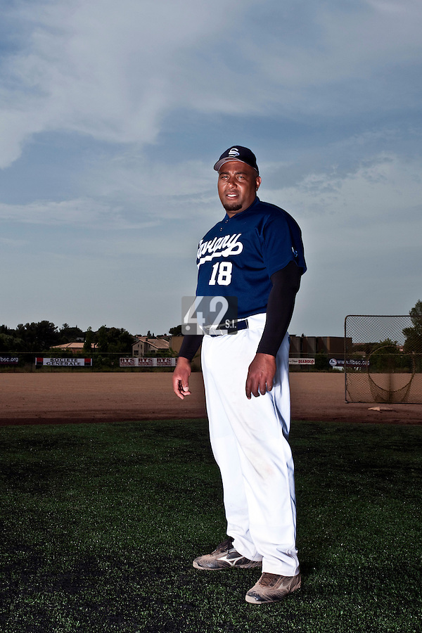 23 May 2009: Carlos Jiminian of Savigny poses prior to a game against Senart during the 2009 challenge de France, a tournament with the best French baseball teams - all eight elite league clubs - to determine a spot in the European Cup next year, at Montpellier, France. Savigny wins 4-1 over Senart.