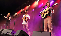 Moore Moss Rutter performs at the Cambridge Folk Festival 2018, Cherry Hinton Hall, Cambridge, England, UK on 3rd and 4th August 2018.<br /> CAP/ROS<br /> &copy;ROS/Capital Pictures