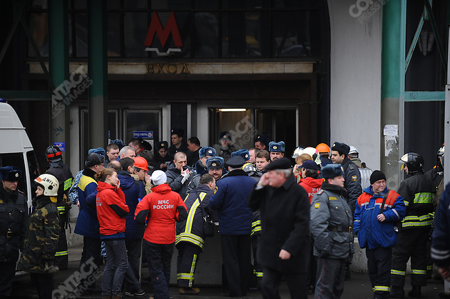 Police and emergency officials, outside the entrance to Lubyanka metro station, coordinated their response to a suicide bombing that killed 23 people during the morning rush hour. This was one of two coordinated attacks in the metro system that morning. Moscow, Russia, March 29, 2010