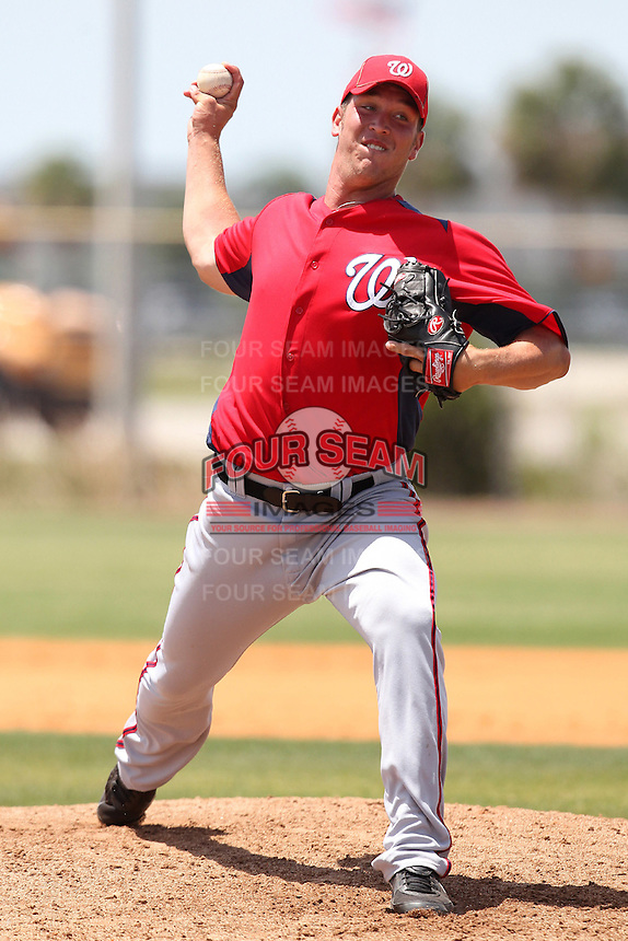 Washington Nationals pitcher Travis Henke #53 during an extended Spring Training game against the Detroit Tigers at the Carl Barger Training Complex on April 30, 2012 in Viera, Florida.  (Mike Janes/Four Seam Images)