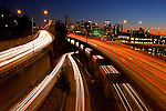 Seattle, WA   <br /> Lights of traffic patterns on I-5 near downtown at dusk