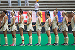 The Wake Forest Demon Deacons lineup for the National Anthem prior to their NCAA field hockey match against the Ohio State Buckeyes at Kentner Stadium on September 10, 2017 in Winston-Salem, North Carolina.  The Demon Deacons defeated the Buckeyes 3-1.  (Brian Westerholt/Sports On Film)