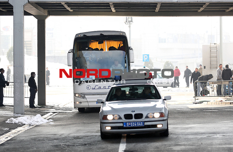 27.01.2012., Belgrade, Serbia - 10th Men's European Handball Championship. Serbian police around Belgrade Arena after the announcement that on the semi final mathes arrives 1000-2000 Croatian fans. Croatian national team's bus. <br /> <br /> Foto &copy;  nph / PIXSELL / Antonio Bronic